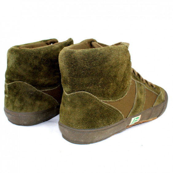 High gym shoes original italian army suede oliv green sneakers back