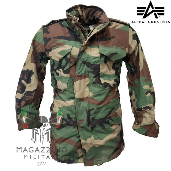 Military Jacket M65 Field Jacket Original ALPHA INDUSTRIES Woodland Made in USA