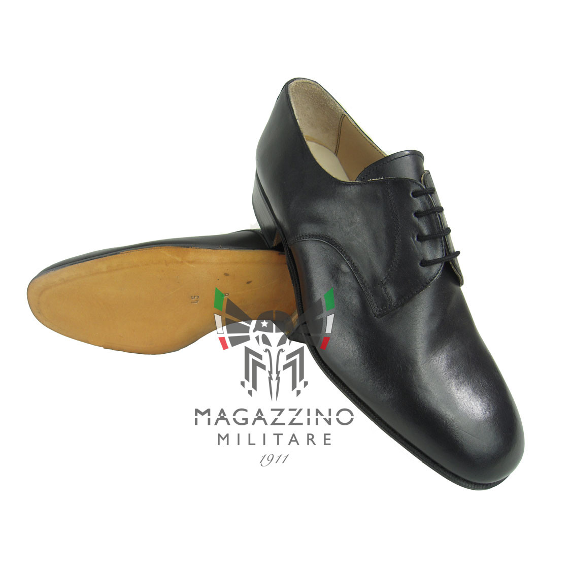Classic Black Army-Navy-Aviation Shoes for Uniform MADE IN ITALY Size 45