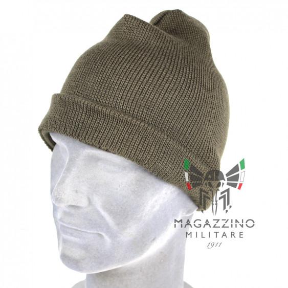 Cappello zuccotto watch cap lana originale Esercito Italiano verde khaki