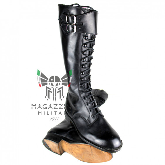 High leather boots ex Carabinieri Radiomobile Man Woman Black leather sole New
