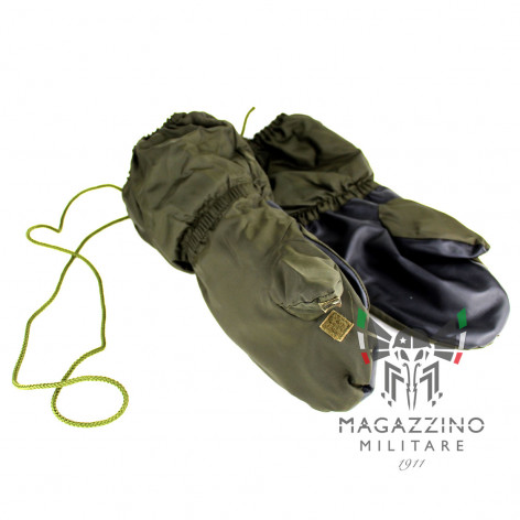 Gloves mittens Nylon and leather original Italian Army lined Alpini