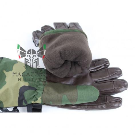 Original Italian Army GoreTex leather Gloves Camo fleece liner