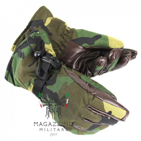 Original Italian Army GoreTex leather Gloves Camo