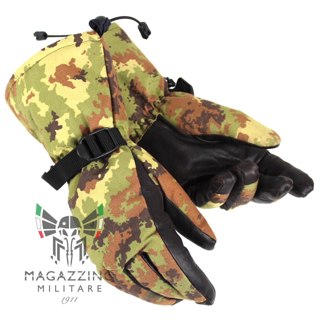 Original Italian Army GoreTex leather Gloves Vegetato