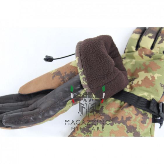 Original Italian Army GoreTex leather Gloves Vegetato fleece liner