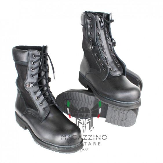 Anfibi pelle nera originali Polizia + zip