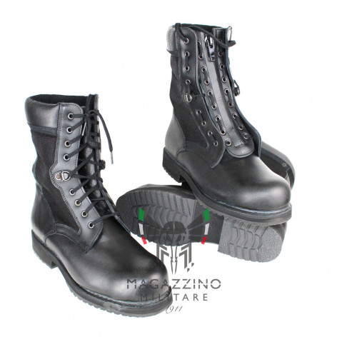 Original black leather boots Police + zip
