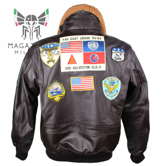 BROWN LEATHER FLIGHT JACKET ′TOP GUN′ W/FUR COLLAR