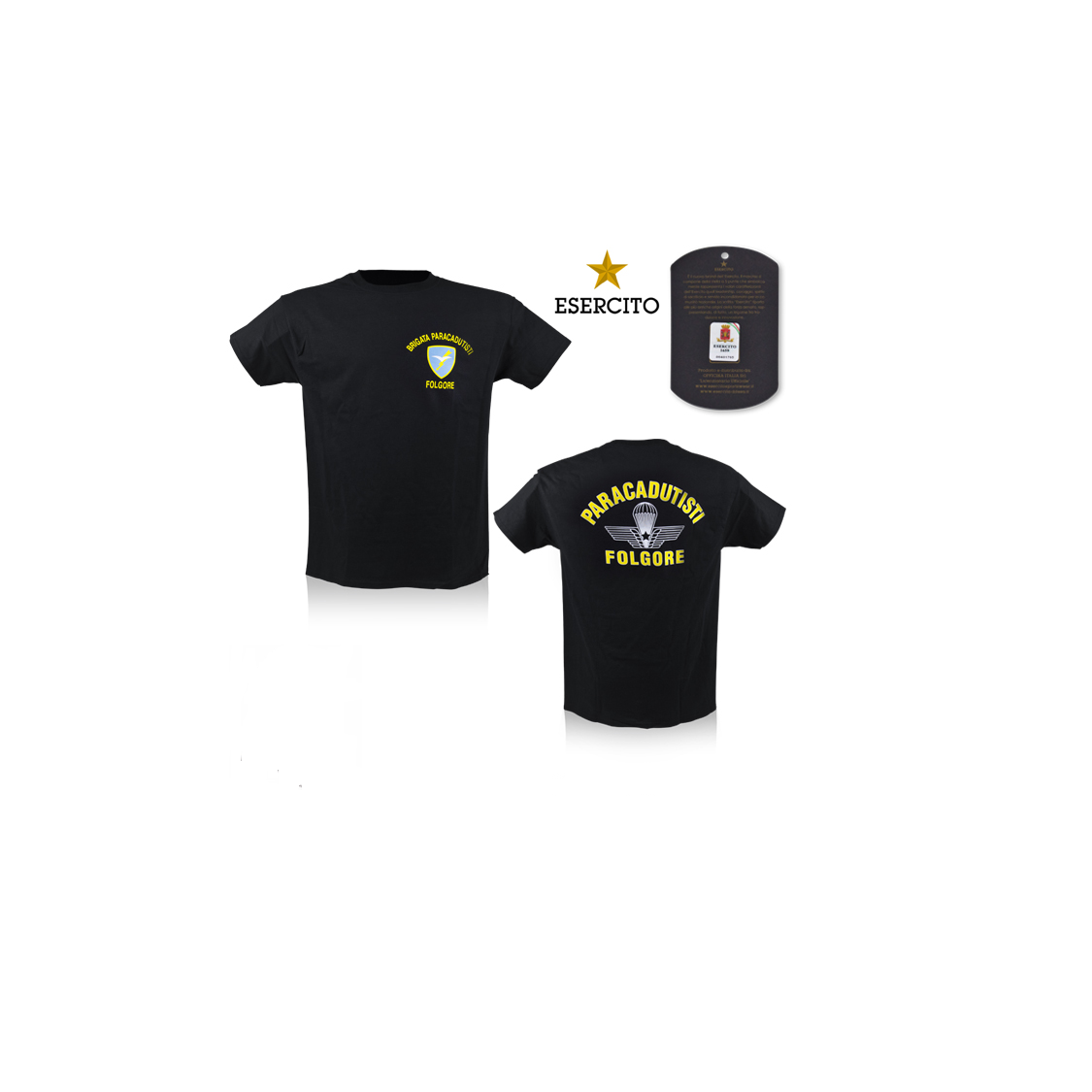 T-shirt maglietta paracadutisti Folgore Nera