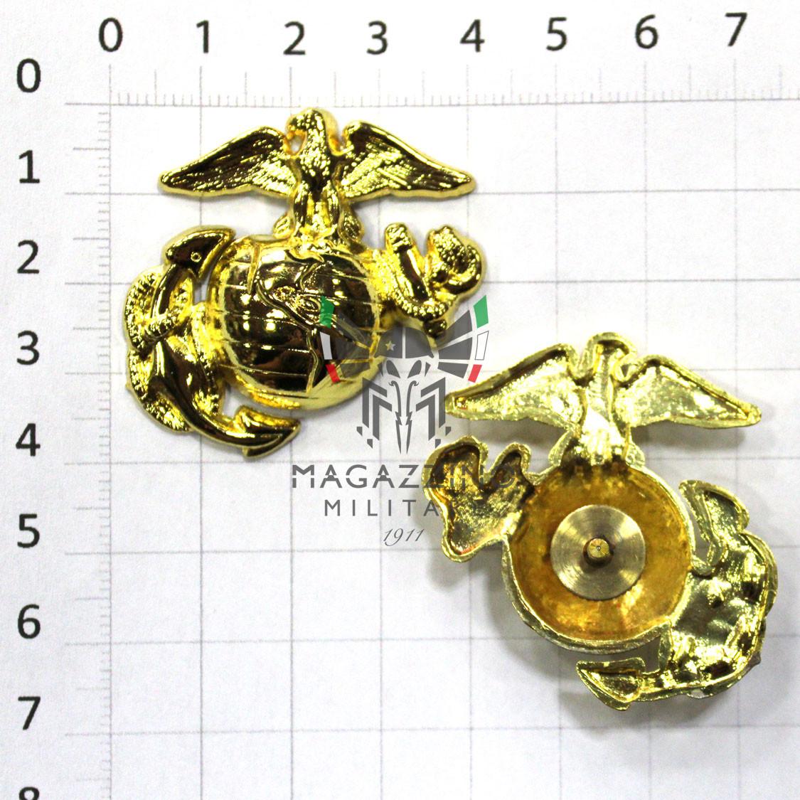 Fregio metallo AMERICANO USMC Marine Corps da cappello Istruttore Oro originale