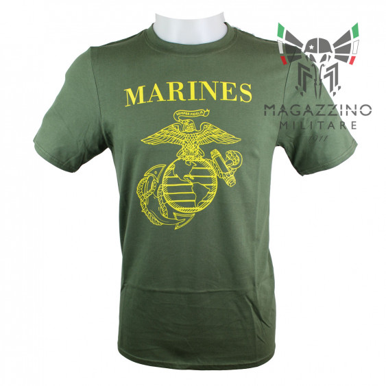 Military T-Shirt Marines logo US OD green