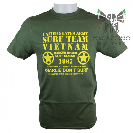 Military T-Shirt Vietnam Surf Team Charlie US OD Green