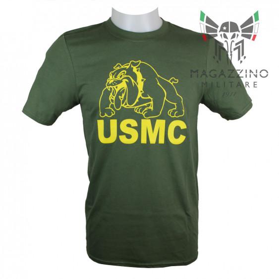 Military T-Shirt Marines bulldog USMC US OD Green