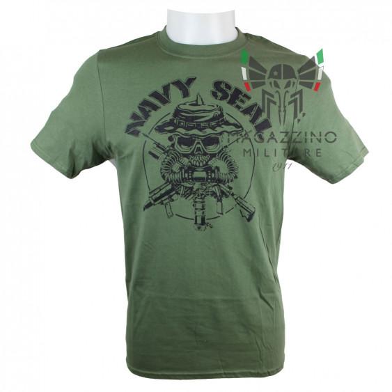 Military T-Shirt US Navy Seals skull OD Green